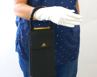 Vintage 50s Crown Lewis Handbag Black Faille 2 Sided Long Slim Purse