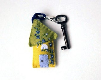 Wool Felt House Key Chain in yellow, olive and light periwinkle with blue floral Embroidered Floral and Beaded Embellishments, 3.25x2""