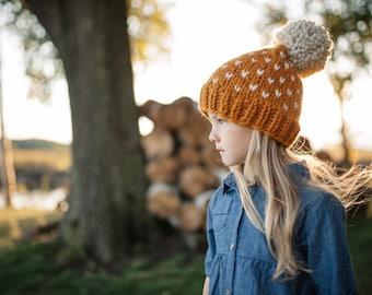 Chunky bonnet tricot / / Pom Pom bonnet / / bonnet enfant en bas âge / / Fair Isle Bonnet / / chapeaux pour les femmes