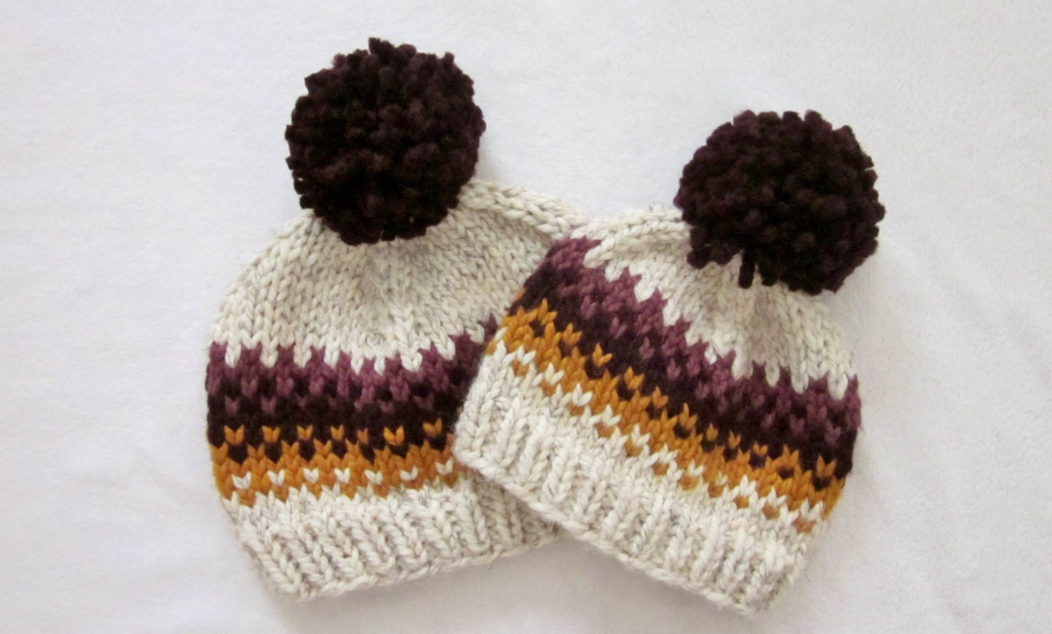 Knitted Throws Free Patterns : Hat Knitting Pattern // Fair Isle Pom Pom Hat Pattern // Hat Pattern for Kids...