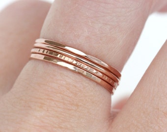 Set of 4 - Skinny Stack Rings - 14kt rose gold fill - Light weight ring - simple band- 4 texture set - 4 different rose gold rings