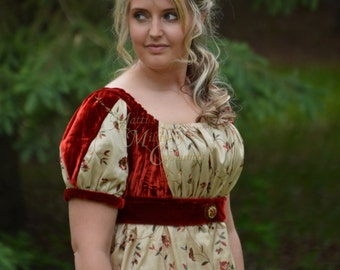 The Cassandra Jane Austen Regency Ball Gown Dress with silk velvet and embroidered taffeta