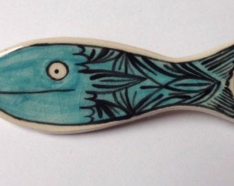 Turquoise fish ceramic brooch