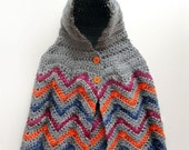 Hooded Chevron Poncho - 4 Sizes - PDF Crochet Pattern - Instant Download