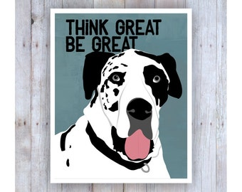 Great Dane Art, Great Dane Artwork, Great Dane Print, Great Dane Gifts, Great Dane Sign, Inspirational Art,  Harlequin Great Dane, Dog Lover