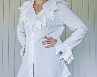 90's White cotton shirt, ruffles in neck and sleeves