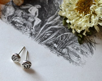 Round Vane Molten Silver Earrings