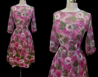 Vintage 1950s Pink Floral Chiffon Illusion Neckline Full Skirt Cocktail Party Dress L