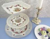 3-Tier Dessert Stand made from Vintage Schumann Bavaria Reticulated Porcelain