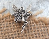 6 Art Nouveau FAIRY Charms in Antique Silver Tone, DIY, US Seller, Small
