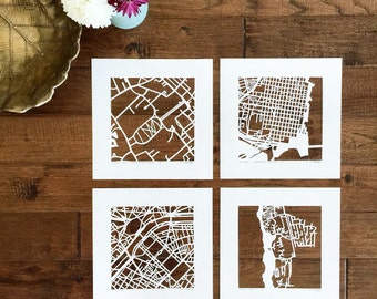 custom mapcut, SET of 4