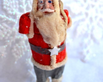Vintage Christmas Ornament - Primitive Clay Face Santa Claus