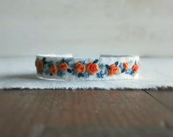 Floral Cuff Bracelet - Orange Peach and Teal Floral Embroidered Bracelet