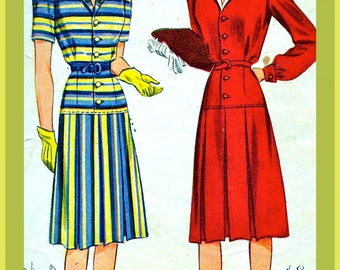 1940s  Simplicity Pattern 4291 * RARE * Stunning Misses' One Piece Dress   * Size 16 *  Bust 34