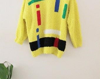 80's Yellow Bauhaus Sweater