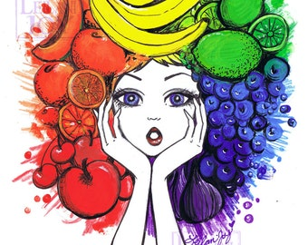 SALE Tutti The Fruity Rainbow Girl 11x14 Fine Art Print