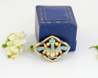 Antique 14k Gold Brooch Turquoise Blue Enamel Victorian Brooch Antique Enamel Jewelry 14k Brooch