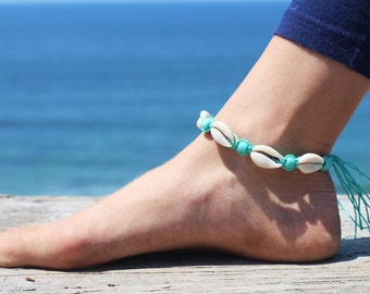 Shell  Anklet, Hemp Anklets, Beach Jewelry, Anklets, Teal