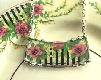 Vintage wild roses broken china jewelry necklace made from a broken plate