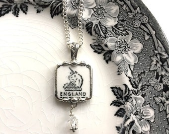 Broken china jewelry pendant necklace vintage Wedgwood china Unicorn backstamp with crystal recycled antique china