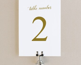 Table Numbers Template - DIY Printable  | Instant DOWNLOAD | Romantic Script | Flat 5x7 | Editable Colors | Mac or PC | Word & Pages