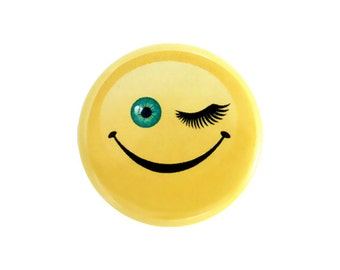 """Winky Face Button, Happy Face Button, Pinback Button, Small Badge, Funny Face Button, Nerd Button, 1.25"""" Button -Y19"""