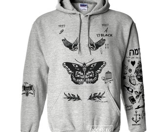 Harry Styles Tattoo Hoodies Sweatshirt Women Sewater Jumper Pullover Grey Shirt