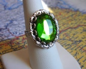 The Elixir of Life - Ring, Vintage Peridot Glass, Silver Adjustable Ring - Handmade Jewelry by HoneyNest