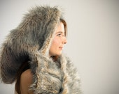 Faux Feather Fur Elf Scoodie- Tribal, Festival Hood, Rave, Burning Man, Forest, Anime, Cosplay, Fairy