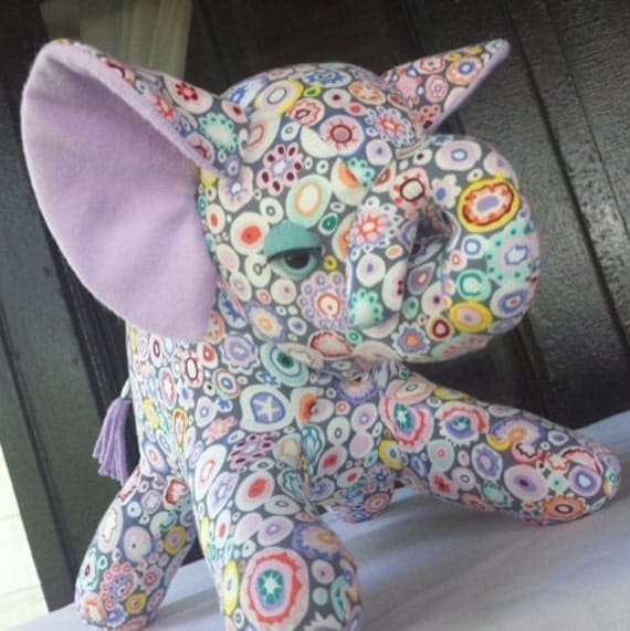 Plush Toy Elephant, Millefiore Kaffe Fassett Print