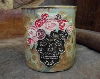 Hers Art Nouveau Style Day of the Dead Sugar Skull With Rose Flower Crown Stamped Pale Turquoise Tan Cream  Crystalline Glazed Coffee Mug