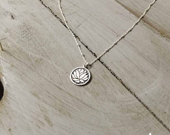 Sterling Silver Lotus Necklace Etched Lotus Necklace