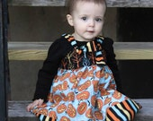 Knot Dress- Happy Halloween Little Pumpkin, Fall Dress: Made to Order, Size 6-12m, 12-18m, 2T, 3T, 4T, 5/6, 7/8