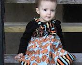 Knot Dress- Happy Halloween Little Pumpkin, Fall Dress: Made to Order, Size 6-12m, 12-18m, 2T, 3T, 4T, 5/6, 7/8