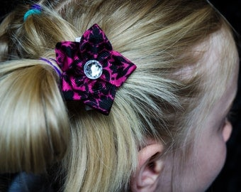 Hair Bow - Black on Pink Damask Grosgrain 5 Petal Hair Flower