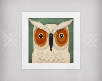 Hoot OWL graphic ART Illustration print SIGNED Ryan Fowler