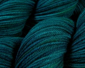 Hand Dyed Yarn - Worsted Weight Superwash Merino Lambswool Yarn - Deep Sea Tonal - Knitting Yarn, Wool Yarn, Blue Green Turquoise Tonal Yarn