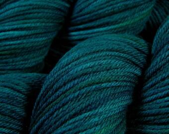 Hand Dyed Yarn - Worsted Weight Superwash Merino Lambswool Yarn - Deep Sea Tonal - Knitting Yarn, Wool Yarn, Blue Green Turquoise Tonal Yarn