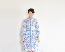 authentic Pucci dress . mod purple blue green floral print . 1960 shirtwaist .small .sale