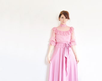 blush pink boho victorian dress . 3 pc set . sheer lace ruffles and high neck .extra small.xs .sale