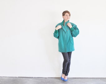 teal green batwing sleeve coat . 1980 power jacket .medium.large .sale
