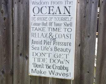 Beach Sign Ocean Wisdom Coastal and Cottage Nautical Decor