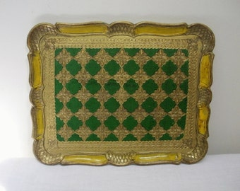 Vintage Florentia Green and Gold Florentine Tray
