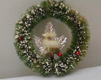 Vintage Green Bottle Brush Wreath Ornament with Deer & Silver Leaf