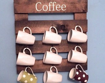 Coffee mug holder, rustic mug rack, coffee cup display, reclaimed wood, kitchen storage, kitchen decor, coffee bar rack, wooden rack