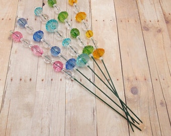 Beaded Plant Sticks - Stakes - Picks - Set of 5 - Colorful - Pink, Blue, Aqua, Green and Yellow - Decoration
