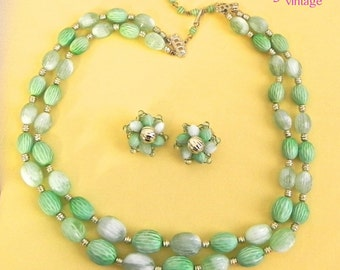 Vintage 50s Necklace and Earring Set , Green Carved Beads 1950s Demi Parure - on sale