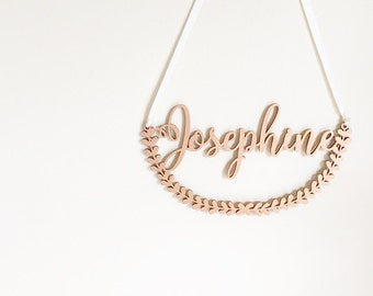 Custom Name Fern Wall Hanging | Baby Nursery Decoration | Rose Gold Wall Decoration | Silver Wall Hanging | Wooden Wall Sign | Rustic