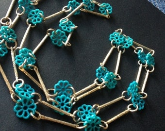 "Mod Flower Child Necklace Aqua 54"" Long"