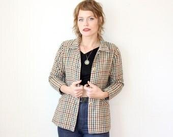 Wool Jacket / Checked Mod Jacket / Plaid Flannel Shirt Sz S
